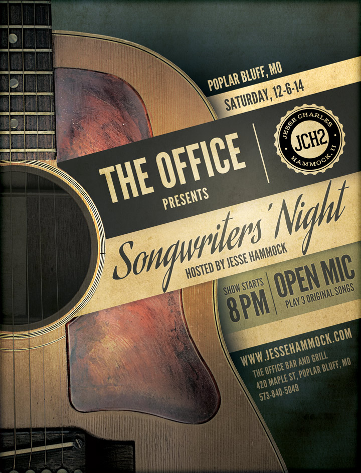 Poster for Songwriter's Night at The Office in Poplar Bluff hosted by Jesse Hammock